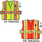 Heavy Duty Reflective Safety Vest FR Treated ANSI Class 2 Yellow/Orange S/M