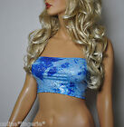 BLUE SILVER METALLIC GLITTER BOOB TUBE STRAPLESS BANDEAU TOP CLUBWEAR PARTY W747