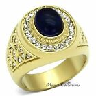 MEN\'S DARK BLUE DOME STONE 14K GOLD PLATED STAINLESS STEEL RING SIZE 8-14