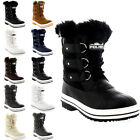 Womens Quilted Short Duck Fur Lined Rain Lace Up Muck Snow Winter Boots UK 3-10