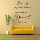 BEAUTY BEGINS COCO CHANEL WALL STICKER - BEDROOM LOUNGE WALL ART DECAL X393