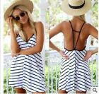 Sexy Women Sleeveless Casual Loose Shirt Dress Lady Mini Short Sun Beach Dresses