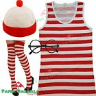 Ladies Red White Vest Top Hat Glasses Fancy Dress Costume Wally Style Hen outfit