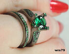 Gothic Green Sapphire Black 925 Silver Bridal Engagement & Wedding Ring Set