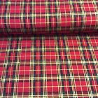 "100% Cotton Poplin Fabric - Red Christmas Tartan Fabric - 54"" width"