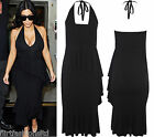 Kim Kardashian Backless Black Side Waterfall Dress Sleeveless Ladies Midi Sexy