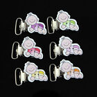 10Pcs New Cute Lovely Wood Style Suspender Clips Pacifier Clips Plastic Insert