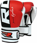 RDX Cow Hide Leather Boxing Gloves Training Kickboxing Sparring MMA Punching Red