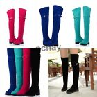 Womens Ladies Faux Suede Buckle Pull On Slim Over Knee Thigh High Boots Shoes NC