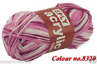 Knitting Yarn 8 Ply 100g x 10 Balls Mixture colour