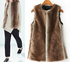 Women Fashion Furry Soft Faux Rabbit Fur Brown+Gray Mixed Waistcoat Jacket Vest