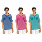 NWT Karen Scott Striped Elbow-Sleeve Henley Shirt Casual Cotton Top 3 Color XS-L
