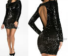 Black Cut Out Long Sleeve Bodycon Party Evening Paillette Sequined Mini Dress