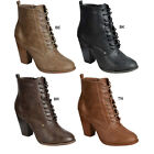 Breckelle's HEATHER-31 Women's Lace Up Chunky Stacked Heel Combat Ankle Booties
