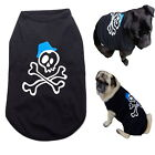 Dog Singlet T Shirt Black Skull XS S M L - Clothes Chihuahua Puppy Pet Clothing
