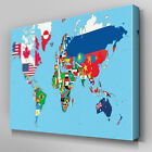 AB412 World Map of Flags Abstract Canvas Wall Art Ready to Hang Picture Print