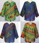 Unisex Tie Dye Long Sleeve Cotton TOP Pullover Shirt Sz Women XL, Men L-XL Boho