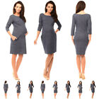 Maternity Denim Look Pregnancy Tulip Dress with Pockets size 8 10 12 14 6100
