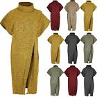 Womens Cross Over Poncho Ladies Knitwear Wrap Polo Neck Jumper One Size Fit 8-18