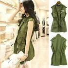 Fashion Womens Drawstring Vest Army Green Military Trench Parka Jacket Coat  C21
