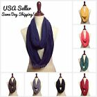 Womens Girls Solid Jersey Infinity Scarf Spring LightWeight Eternity Scarves