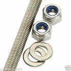 M7 THREADED BAR ROD STUDDING - BZP + Nyloc Nuts Washers
