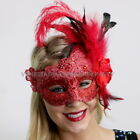 Red Masquerade Ball lace feather Halloween Xmas New Year costume party Mask