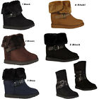 LADIES ANKLE BOOT WOMENS WINTER FUR LINED FAUX SUEDE BUCKLE SHOES BOOTS WEDGE