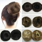 Womens Chignon Straight Black/Brown Hair Extension Updo Hairpiece Drawstring Bun