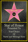 PERSONALISED HOLLYWOOD STAR OF FAME * HONOR * BIRTHDAY* XMAS* GLOSSY PRINT