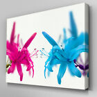 FL513 Pink Blue Lillies Floral Canvas Wall Art Ready to Hang Picture Print