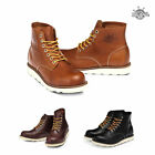 "BHP6701 Leather Non-Safety Lace-Up Soft Toe Work Boots 6"" Mens Shoes Wedge Boots"