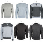Mens Jumper Crew Neck Pull Over Sweater Tops Contrast Zip SweatShirt  S M L XL