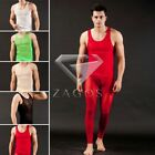 Men Adult Sexy Mesh Sheer Undershirt Tank Long Johns Top/Bottom Underwear SFNK86