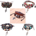 Hot New Mens Womens Brown Leather Friendship Bead Celtic Charm Bangle Bracelet