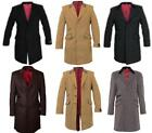 De La Creme - Men's Wool & Cashmere Blend Velvet Trim Retro Mod Crombie Coat