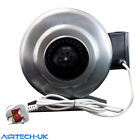 Inline Duct Extractor Fan Hydroponic Ventilation Kitchen Industrial Steel Body