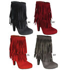 Breckelle's PHOEBE-11 Women Fringer Braid Stiletto High Top Costume Ankle Bootie