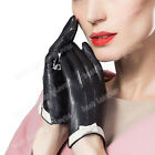 Women's Ladies Black Driving Genuine Lambskin Leather Gloves For Women With Bow