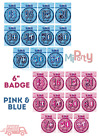 "Birthday Glitz Blue 6"" Badge age 13th - 100th & Happy Birthday"