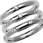 9ct or 18ct White Gold Diamond Set Court Wedding Ring - Widths 2.5mm to 4mm