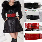 Modern Faux Women Adjustable Elastic Stretch Buckle Wide Waistband Strap Belt