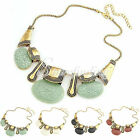 1PC Gold Tone Resin Chain Link Choker Bubble Bib Statement Necklace 38*14*4.2cm