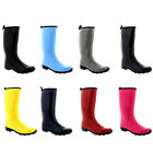 Womens Contrast Sole Tall Rubber Gloss Knee High Snow Rain Welly Boots UK 3-10