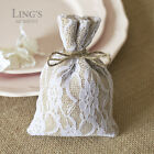 10/50/100pcs Natural Hessian Jute Bags w/Lace 10x15cm Rustic Wedding Favour Bags