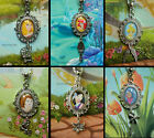 DISNEY OVAL PENDANT NECKLACE WITH CHARM RAPUNZEL ARIEL MINNIE BAMBI BELLE AURORA