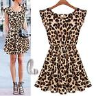 AU STOCK LADIES SEXY LEOPARD PRINT PARTY SKATER DRESS BEACH COVER UP DR100