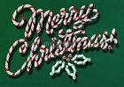 Vintage Candy Cane MERRY CHRISTMAS 3 sizes Quilting Fabric Block