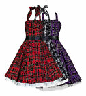 Vintage 50's / Punk Goth Tartan Tattoo H/Neck Circle Rockabilly Dress New 8-18