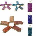 Natural Gemstone Crystal Druzy Drusy Cluster Gold Plated Pendant Fit Necklace